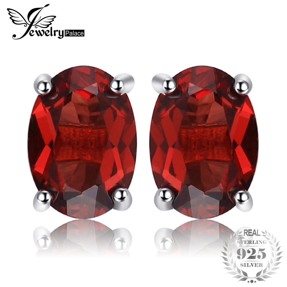 0eedef5b7 JewelryPalace Oval 2ct Red Garnet Birthstone Stud Earrings Solid 925  Sterling Silver Jewelry Fashion Girl Birthday Gift-in Stud Earrings from  Jewelry ...