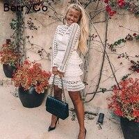 BerryGo Elegant White Lace Hollow Out Dress Women Vintage Long Sleeve Ruffle Vestidos 2017 Autumn Winter