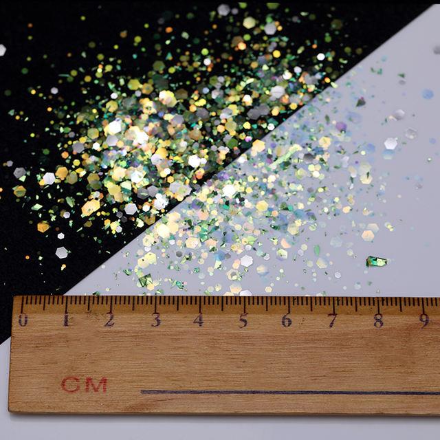 6Pcs Holographic Nail Glitter Sequins Set AB Colors Laser Hexagon Flakes Tips 3D Nail Art Decorations Mixed Manicure Nail Powder