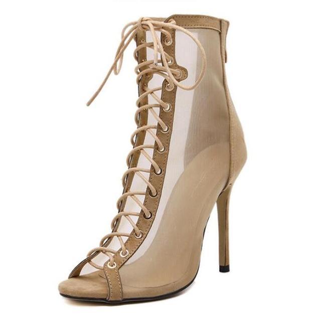 Verão Estilo Vogue Malha Sexy Gladiador Sandálias de Salto Alto Mulheres Bombas de Tiras Cruzadas Dedo Aberto Stiletto Sapatos de Casamento Festa de Senhoras
