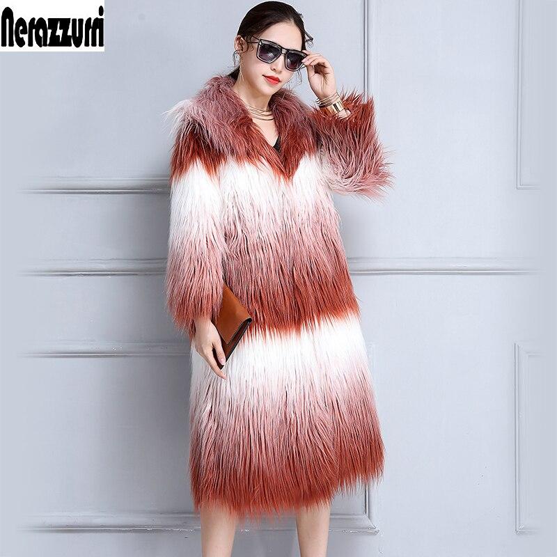 Nerazzurri шуба из искусственного меха зимнее пальто из искусственного меха для женщин с капюшоном, длинный градиент, большие размеры, имитация монгольского овечьего меха верхняя одежда лохматая модная пальто с мехом