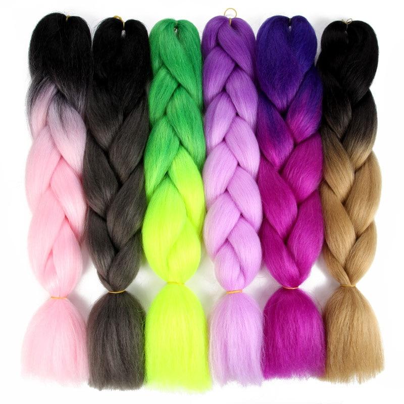 Kanekalon Synthetic Hair 24 Ombre Jumbo Braiding Hair For Jumbo Braids 100g/Pack Blonde Grey False Hair Extensions ...
