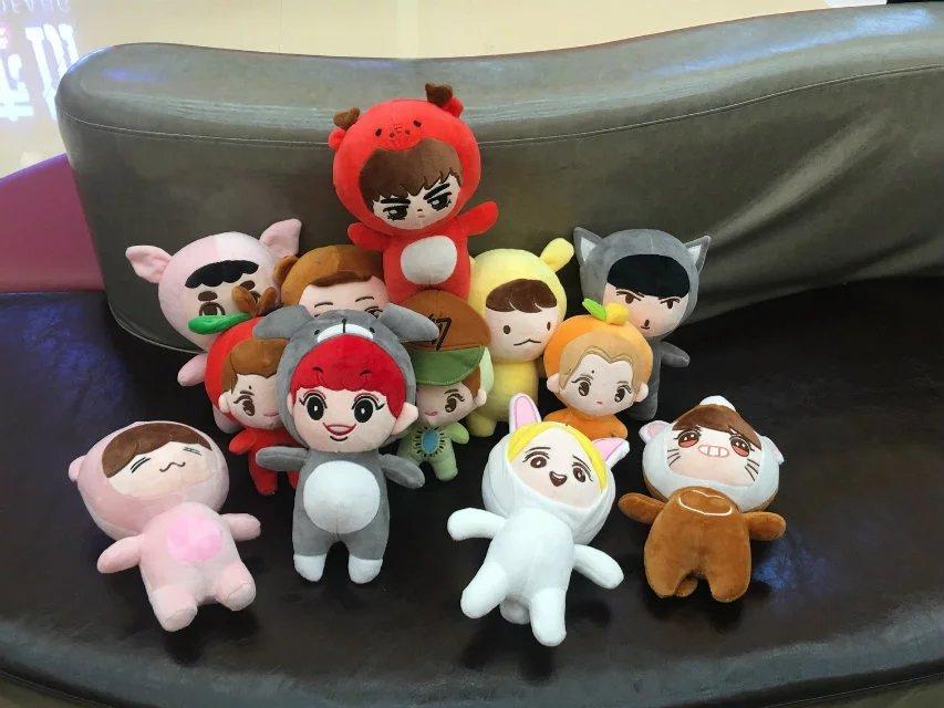 21-27cm Cartoon Korea Plush Kpop EXO Plush Toys Superstar Baek Hyun Chan Yeol Kai Se Hun Su Ho D.O Luhan Chen Stuffed Fans Gift