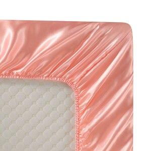 Image 3 - Роскошный атласный Шелковый комплект постельного белья с наволочкой, постельное белье в американском стиле, 3/4 шт., постельное белье для двуспальной и двуспальной кровати, Комплект постельного белья размера s