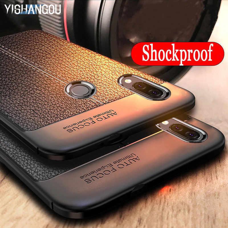 Funda de silicona suave de grano de cuero para Huawei Honor 10i 9i V20 P Smart Plus 2018 Y6 Y7 Pro 2019 P30 P20 Mate 10 20