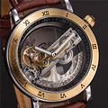SHENHUA Punk Gold Case Transparent Skeleton Crystal Inlaid Men Automatic Mechanical Brown Leather Strap Band Wrist Watch