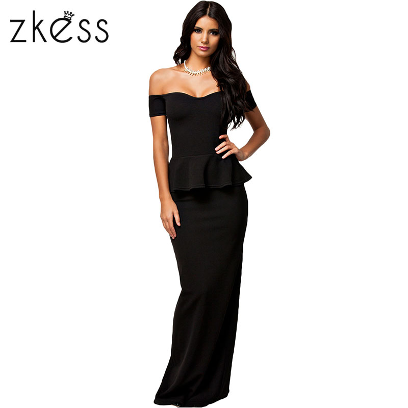 ZKESS Women Sexy Party Gowns bodycon Beach Long Dress Peplum With Drop Shoulder Maxi Dresses Female Vestidos robe Hot saleLC6244