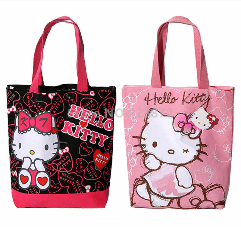 4292b2d2ef Cute Hello Kitty Canvas Shoulder Bag Women Handbag Tote Eco Reusable  Shopping Bag Zipper Cartoon School