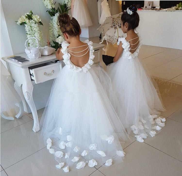 יפה לבן פרח בנות שמלות לחתונות ראפלס תחרה טול פנינים ללא משענת נסיכת ילדי חתונה מסיבת יום הולדת שמלה
