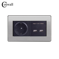 COSWALL Wall Socket EU Standard Power Outlet With Dual USB Charge Port For Mobile 5V 2