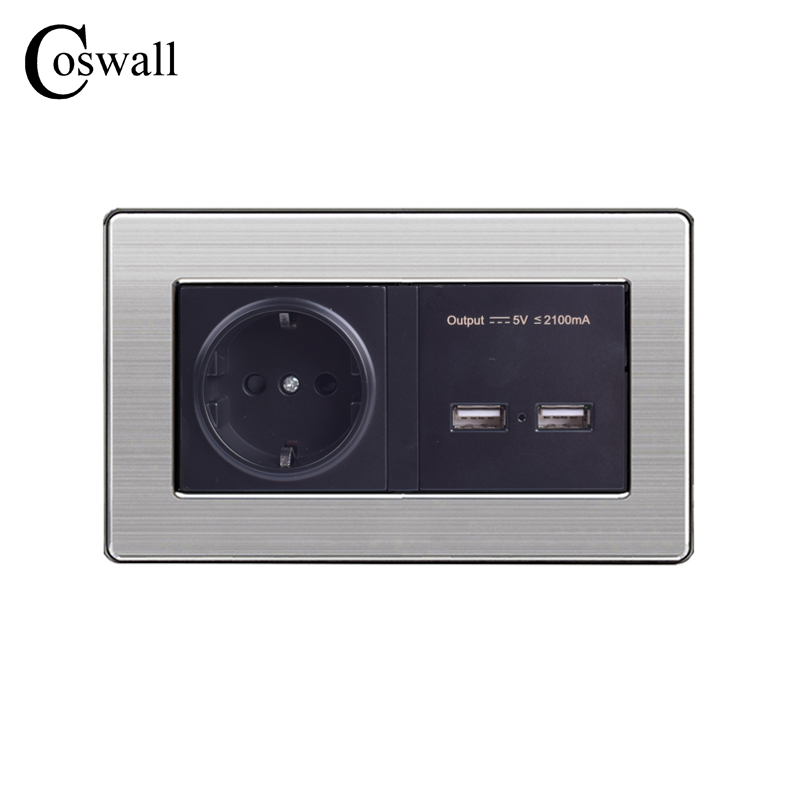 COSWALL Wall Socket EU Standard Power Outlet With Dual USB Charge Port For Mobile 5V 2.1A Output Stainless Steel Panel hp9800 pc usb port 4500w 85v 110v 220v 265v ac 20a electric power energy monitor tester watt meter analyzer with socket output