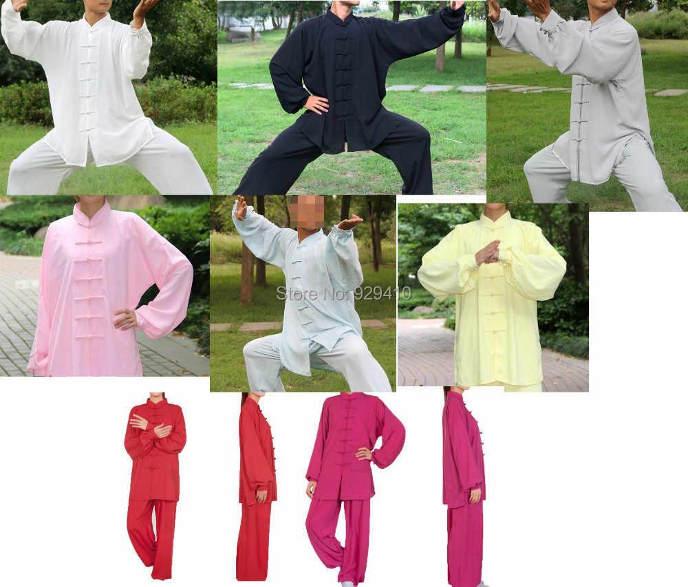 12 色の高品質武道服カンフースーツ長袖太極拳の制服用セット女性 & 男性