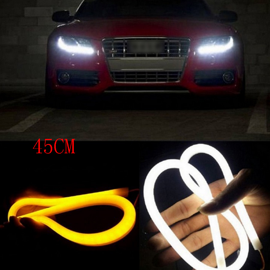 2PCS 45CM Angel Eye Daytime Running Light Tube Guide Soft Flexible Car Styling LED Strip DRL White and Yellow Turn Signal Lights