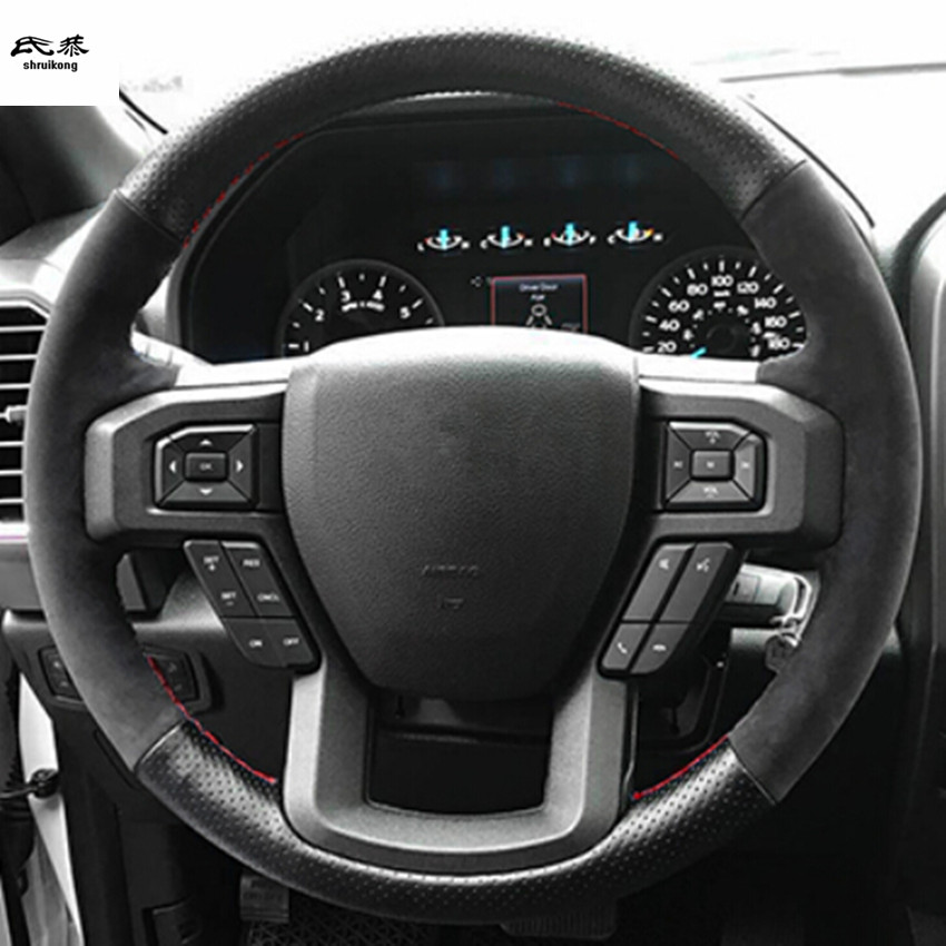 Free Shipping 1set Hand sewing Genuine leather steering wheel decoration cover for 2017 2018 FORD F150