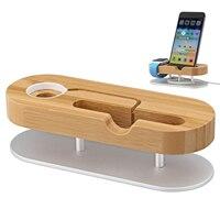 Voor apple watch stand met aluminium basis, bamboe stand en opladen dock station cradle houder voor apple watch/iphone