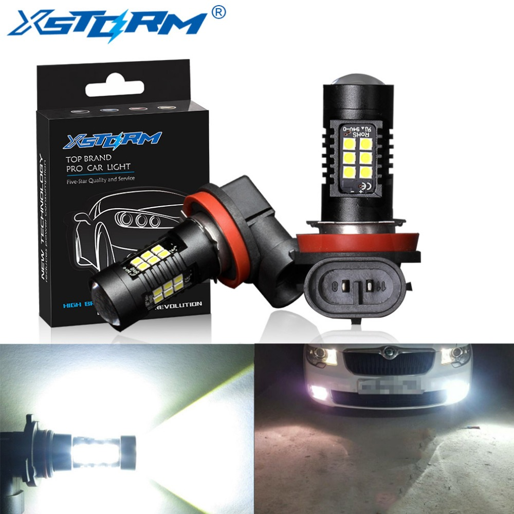 2Pcs H8 H11 Led Bulb HB4 Led HB3 9006 9005 Fog Lights 1200LM 6000K 12V White DRL Daytime Running Car Lamp Auto Light Bulbs 3w 100lm 6000k white 3 led car daytime running light lamp black dc 12v pair