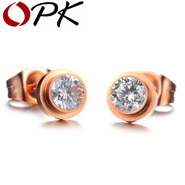 OPK JEWELRY Big Crystal Rose Gold Color Mosaic zircon stud earrings