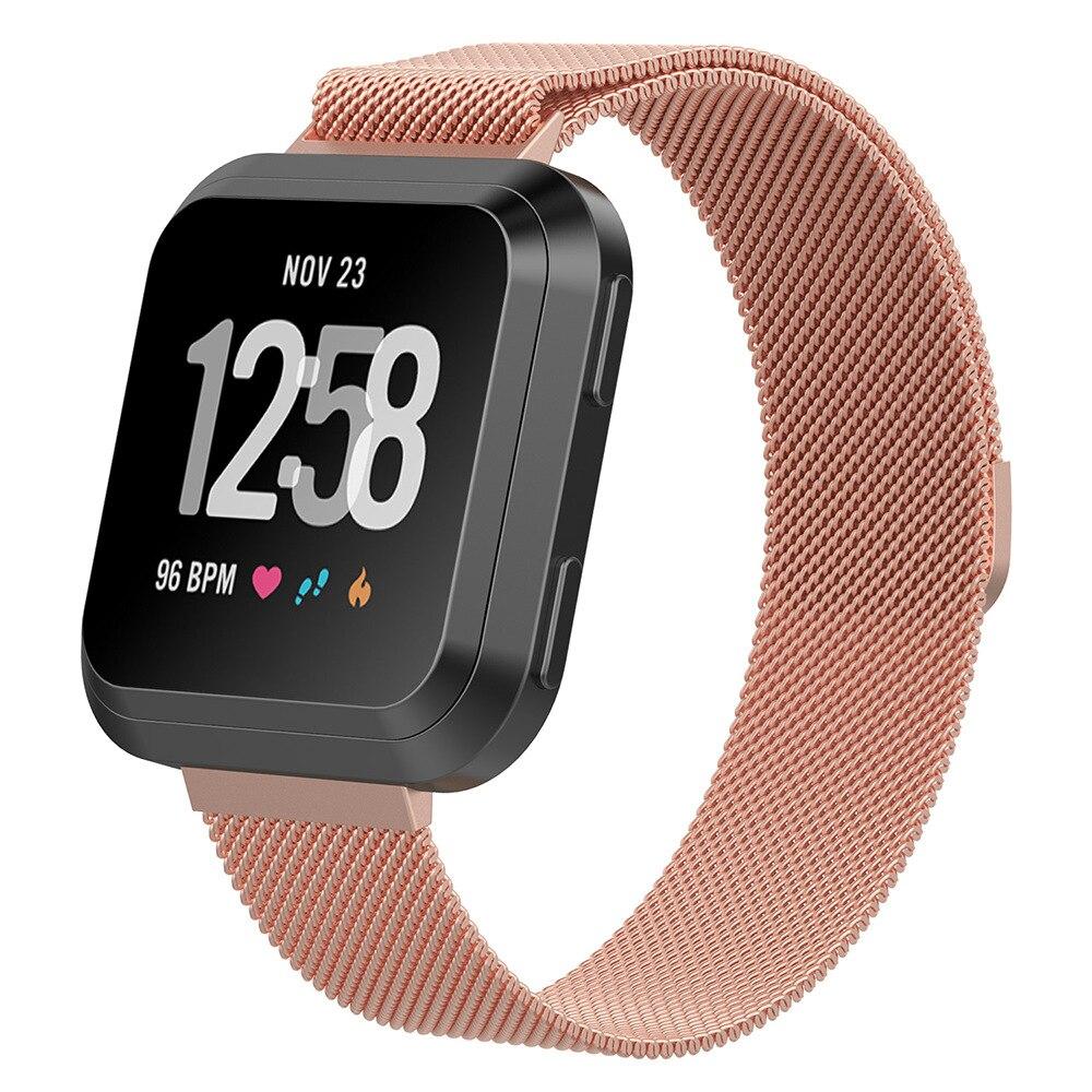 Купить с кэшбэком Magnetic Closure Meshed Loop Strap For Fitbit Versa Band Stainless Steel Watchband Metal Bracelet Replacement Mesh Wristbands