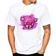Dell orso di colore rosa della pelle divertente maglietta degli uomini 2018  estate nuovo bianco manica corta casuale homme t . f4224b29663a