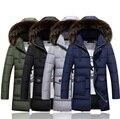 Long Down Coat Men Large Fur Down Coats Men Long Down Jacket Thick Padded Snow Wear Male Snowsuit Free Shipping