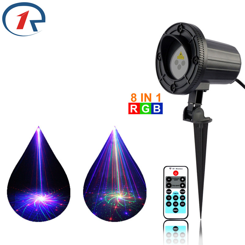 ZjRight RGB Laser stage Light IR Remote 8 patterns Waterproof garden party projection christmas lights dj disco bar ktv headlamp ...