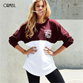 ORMELL Letter Printing Loose Cotton T Shirt Women 2017 Spring Long Tops White Wine Casual T-shirt Female Street Wear Femme