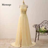2016 New Real Image A Line Yellow Chiffon Side Split Elegant Woman Long Prom Dress Vestido