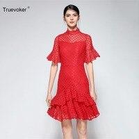 Truevoker Summer Designer Lady Red Lace Crochet Dress Women's Short Sleeve Stand Collar Ruffle Layer Boutique Dress