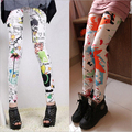 Free Shipping  2016 New Fashion Women Retro Colorful Splash Graffiti Sunflowers Printing Leggings Pencil Pants For Women Ladies