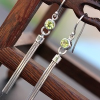 Pavilion silver color treasure wholesale authentic S925 Sterling Silver Earrings long fringed Silver Earrings Ms.