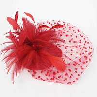 Red Black Dotted Mesh Fascinator Feather Hair Cllip Vintage French Veiling Ladies Headpiece Party Wedding Bride