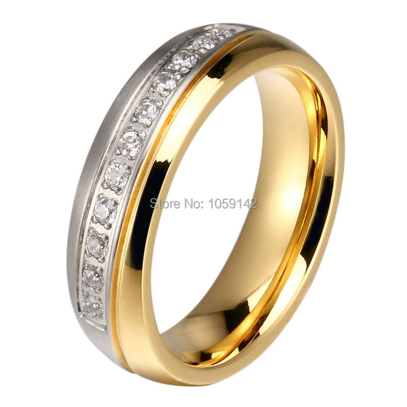 Wholesale 10pcs/lots CZ Stone Couple Wedding Band 6mm Stainless Steel His & Hers Love Promised Ring Mix Size Available