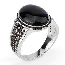 цены на Cool 925 Sterling Silver Men Ring with Oval Black Stone with Black CZ Punk Style Finger Ring for Men Jewelry Hot Selling  в интернет-магазинах