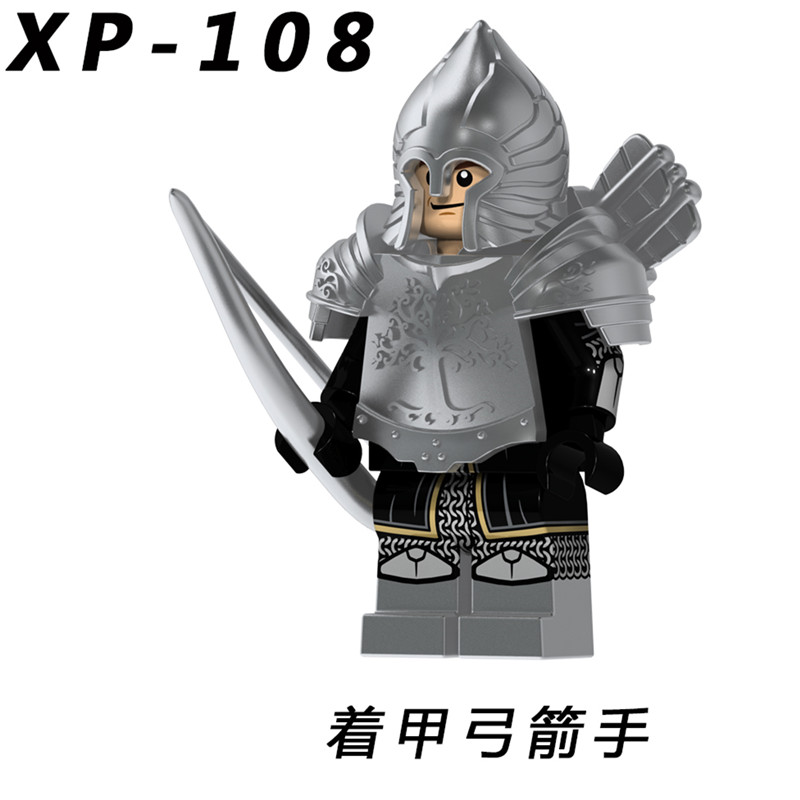 100PCS XP108 Lord of the Rings Action Figure Soldier of Gondor Knight Spear Sword Building Blocks