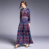 Banulin 2019 Autumn Celebrity inspired Runway Elegant Women Vintage Retro Letters Floral Print Long Maxi Dress Wrist Sleeve
