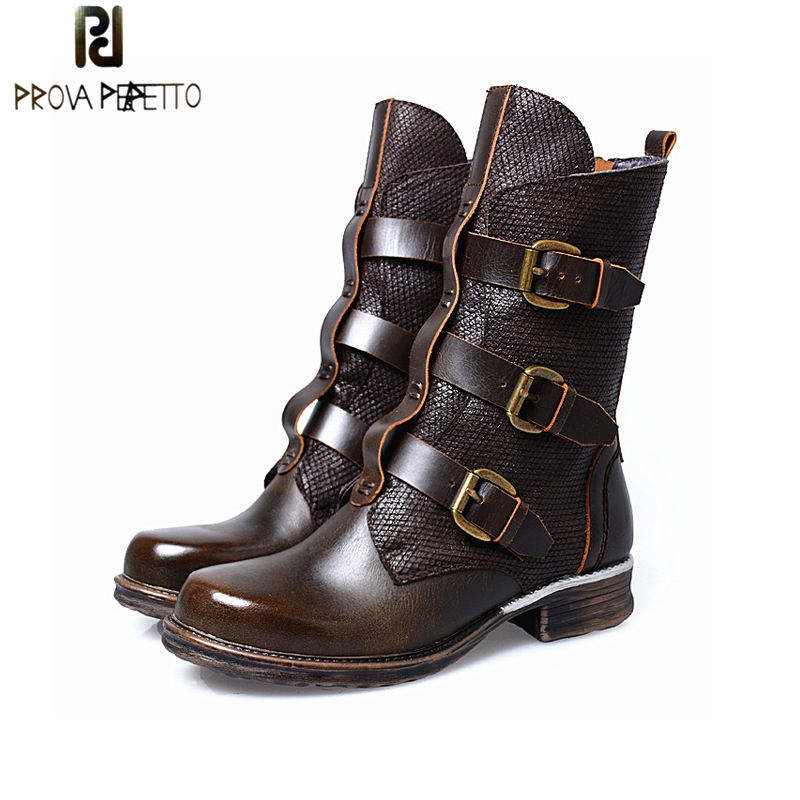Prova Perfetto Thick Heel Genuine Leather Women Short Boots Belt Buckle Mix Color Round Toe Knight Boots Big Size 41 prova perfetto winter women warm snow boots buckle straps genuine leather round toe low heel fur boots mid calf botas mujer