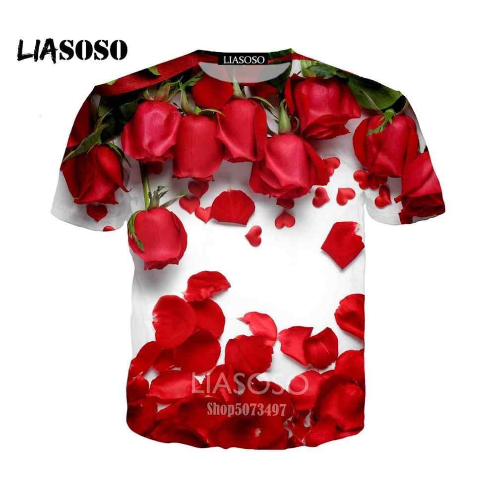 LIASOSO летняя Новинка для мужчин и женщин толстовка 3D принт любовь прекрасная роза футболка Повседневная короткий рукав Харадзюку пуловер