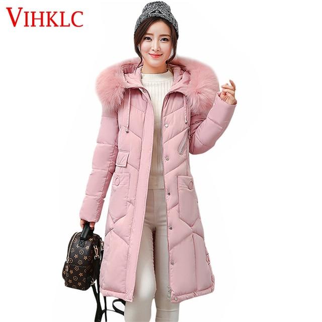 eb9ee060920 New Hooded Fur Parka Winter Down Cotton Coat Female Long Puffer Jacket Plus  Size 2017 Slim Warm Outwear Woman Clothing L175