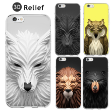 Cool 3D Relief Painting Geometric Graphic Animal Pattern Coque Fundas Hard Clear Case For iPhone 5 5S 6 6S 6Plus SE