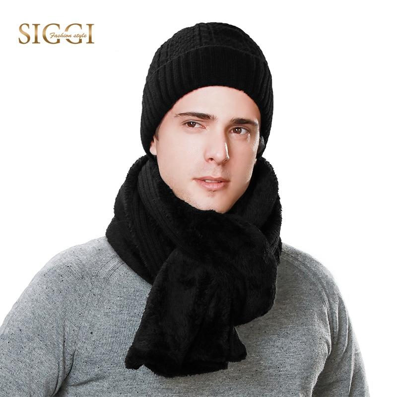 FANCET Men Winter Warm   Skullies     Beanies   Solid Warm Brim Fleece Wool Soft Hats For Men Scarf Mask Balaclava 2019 Caps 89219