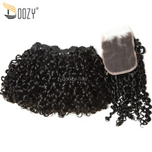 Doozy Natural Color Super Double Drawn Brazilian Virgin Hair Pixie Curly Funmi Virgin Human Hair 3 Bundles With Lace Closure(China)