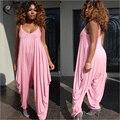 2016 свободные брюки Комбинезоны женщины Спагетти Ремень женский Розовый и Фиолетовый Комбинезоны Большой размер Большие брюки