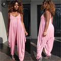 2016 loose pants Jumpsuits women Spaghetti Strap female Pink &Purple Playsuits Large size Big pants