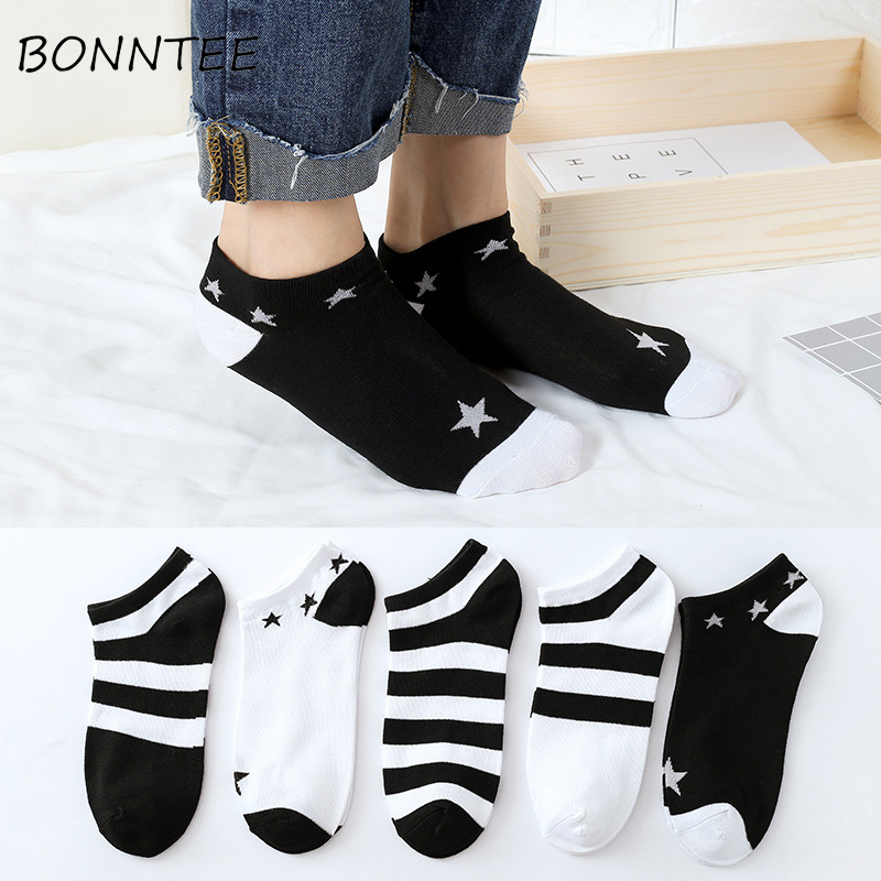 Socks Women Harajuku Couple Summer Striped Breathable Casual Fashion Cotton Kawaii Soft Comfortable Cute Sock Womens Daily Thin