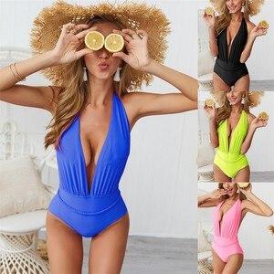 Trend Summer Swiming Print Suit One Piece Womens High Waist Bikini Set Padded Solid Backless Pompom Swimsuit Beach Swimwear 20(China)