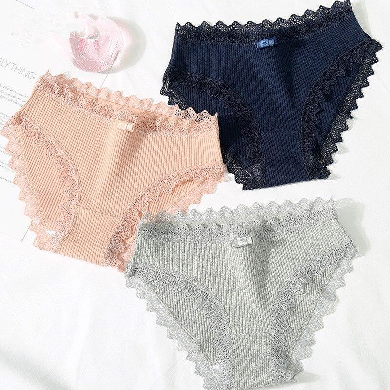 2cd5ff7af364 Bragas de algodón para mujer ropa interior de encaje sexy lencería femenina  bragas señoras casual calzoncillos gril íntimos panty talla grande 2019