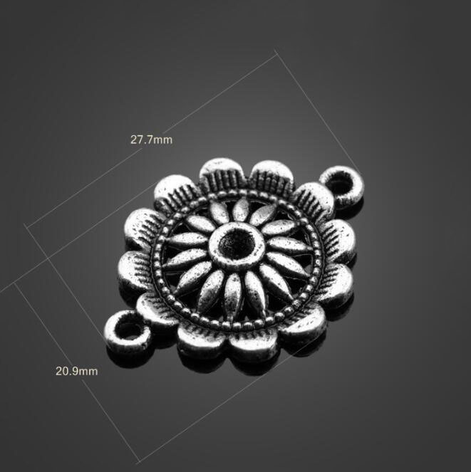 100pcs Anitque Silver Alloy Charms Chrysanthemum Pendants DIY Jewelry Findings Necklace Bracelet Earrings Accessories 27 7X20 9 in Charms from Jewelry Accessories