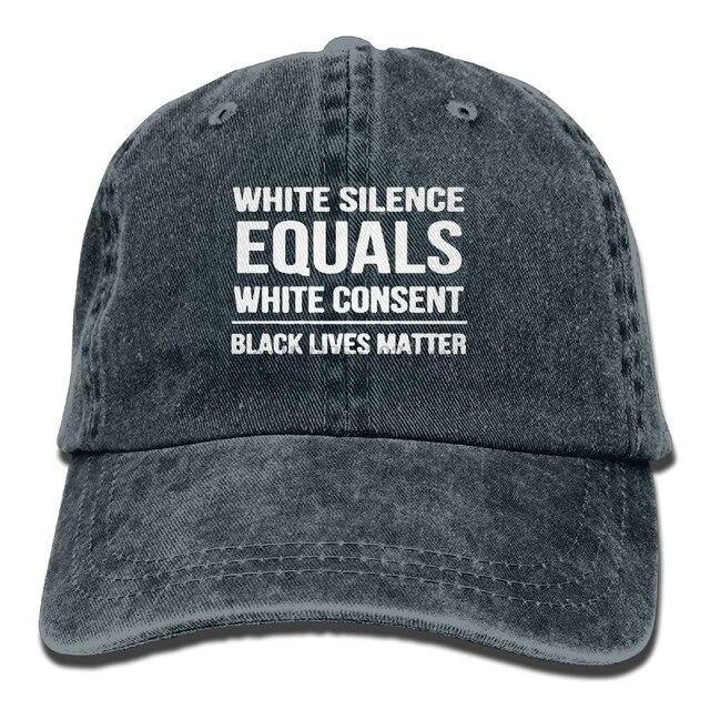 Silence White Consent Black Lives Matter Vintage Adjustable Denim Hats Gym Caps For Adult Unisex