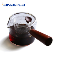 450ml Elegant Style Heat Resistant Transparent Glass Tea Kettle Home Boiled Tea Pot Handmade Wooden Handle Coffee Milk Teapot