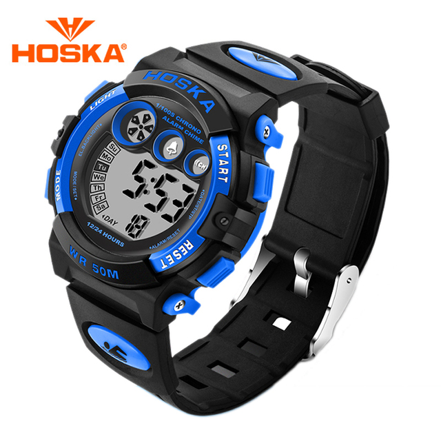 Hot Sales HOSKA Children Sports Wristwatch Kids LED Digital Watch Fashion Outdoor Waterproof Electronic Watches For Boys